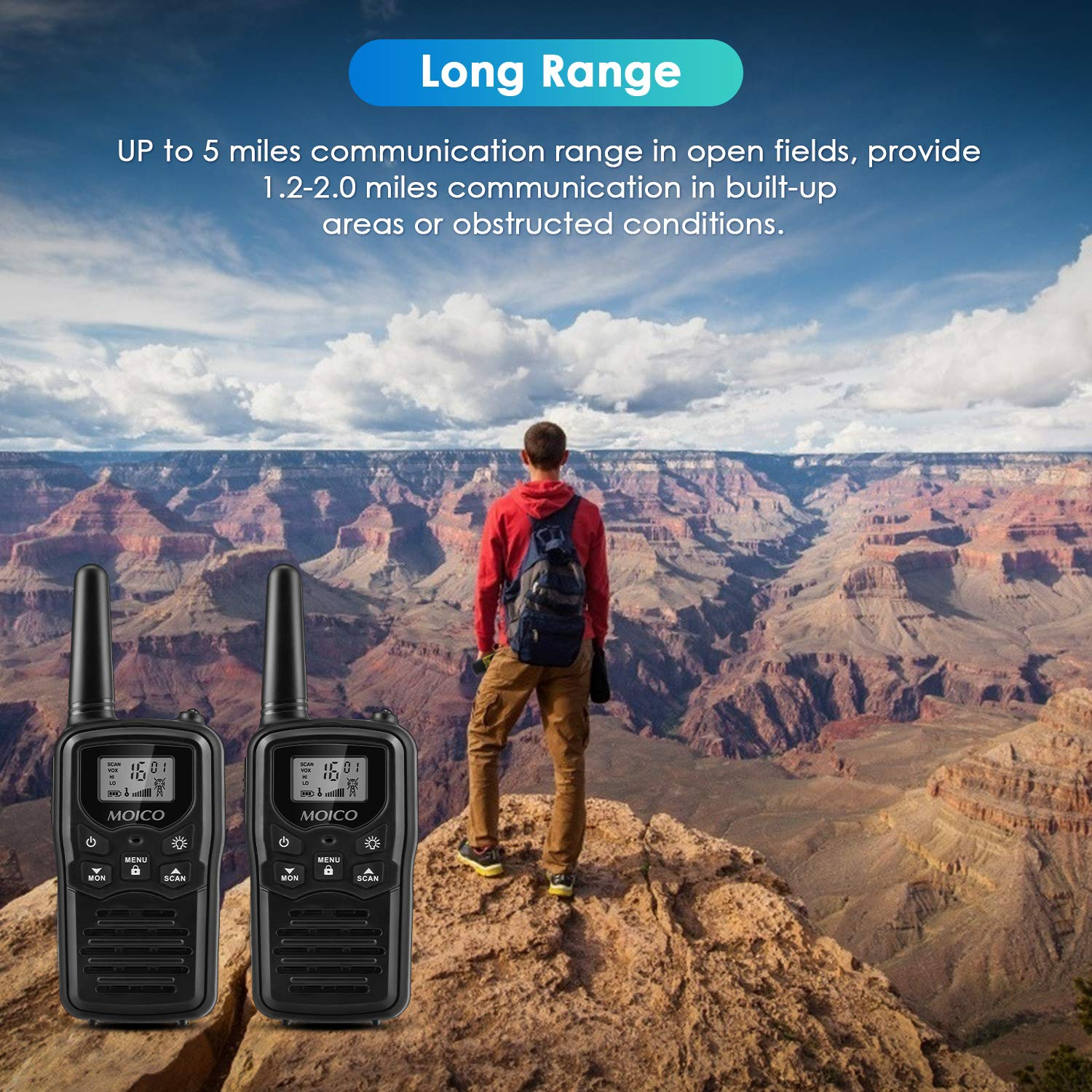Professional Rechargeable Walkie Talkies,MOICO Long Range Two Way Radios for Adults up to 5 Miles in Open Area,Handheld Talkies Talky with 22 Channels FRS//GMRS VOX Scan LCD Display LED Flashlight