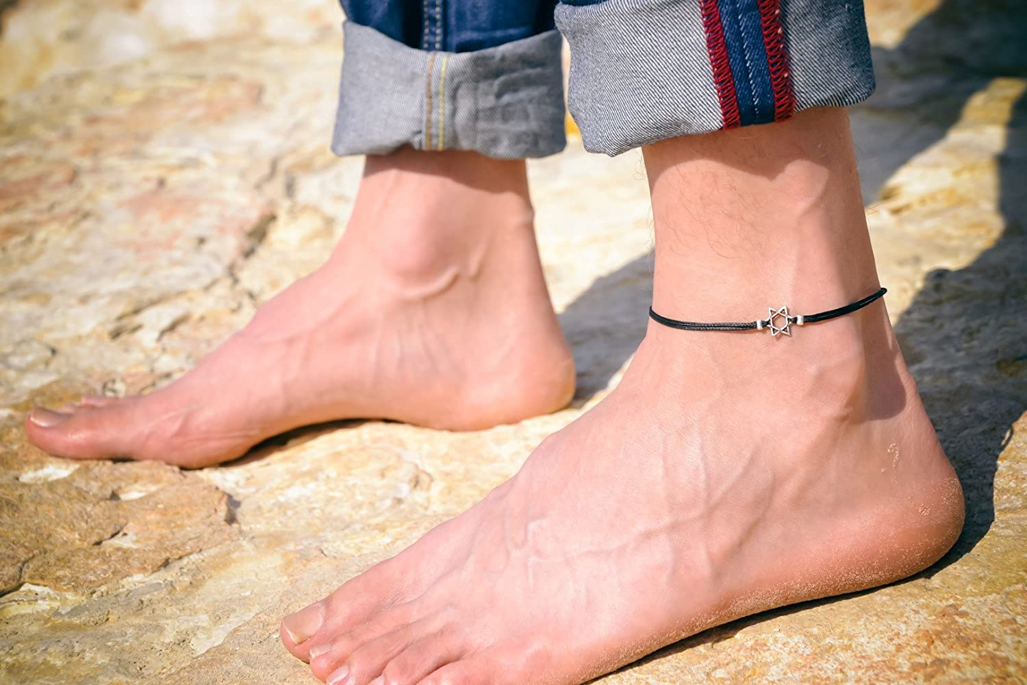 Anklet for men, men's anklet with silver Star of David, black cord, anklet for men, gift for him, ankle bracelet, jewish jewelry form Israel