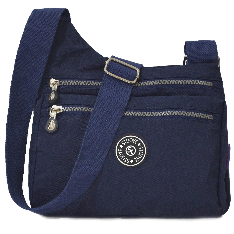 STUOYE Nylon Multi-Pocket Crossbody Purse Bags for Women Travel Shoulder Bag (Z187 Navy Blue)