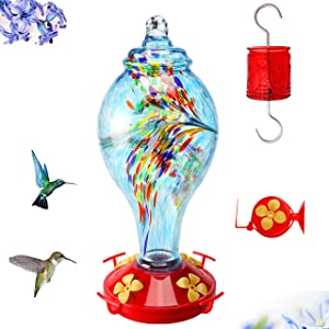 AMAURAS Glass Hummingbird Feeder H205 Blue Bottle with Red Glass Ant Moat and Full Accessories