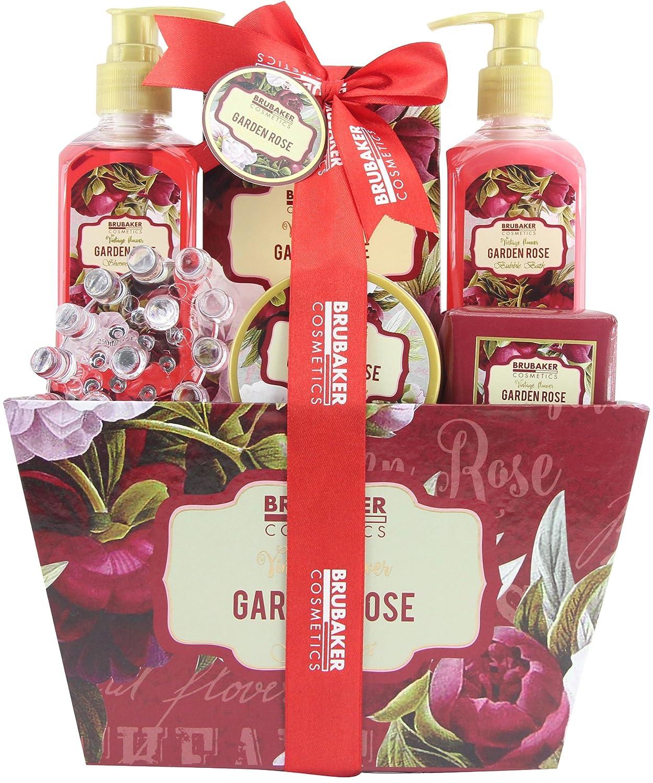 BRUBAKER Cosmetics Bade- und Dusch Set floraler Rosen- und Veilchen Duft - 7-teilig - Vintage Blumen Geschenkset mit Massage-Acryl