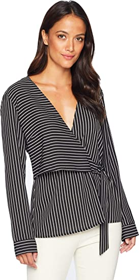 ee73aff887d21 Vince Camuto Womens Long Sleeve Legacy Stripe D-Ring Wrap Front Blouse Rich  Black SM