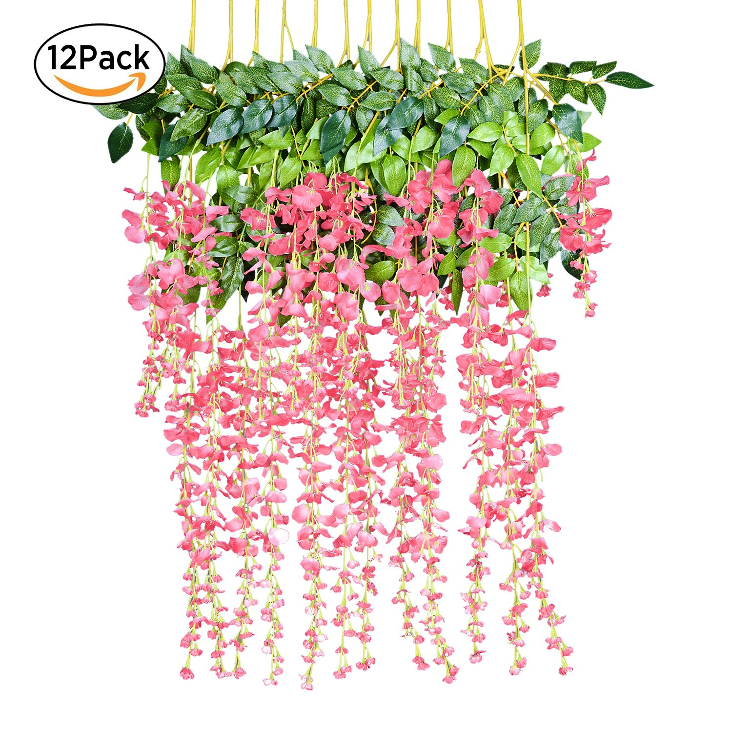 12 Pack 3.6 Feet/Piece Artificial Fake Wisteria Vine Ratta Hanging ...