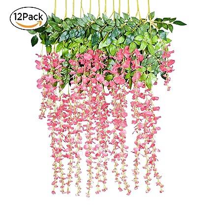 Amazon.com: 12 Pack 1 Piece 3.6 Feet Artificial Fake Wisteria Vine ...