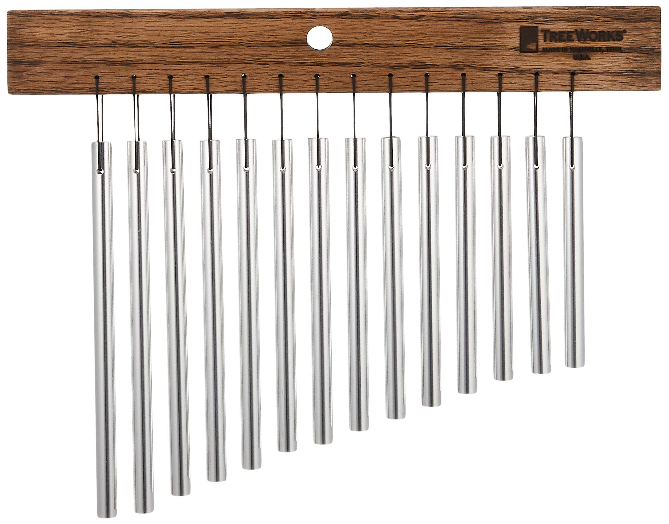 TreeWorks Chimes TRE417 Made in USA Small Single Row Bar Chime, 14-Bar Wind Chime (VIDEO) by TreeWorks Chimes