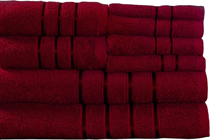 Lavish Home 8 Piece 100% Cotton Plush Bath Towel Set Burgundy