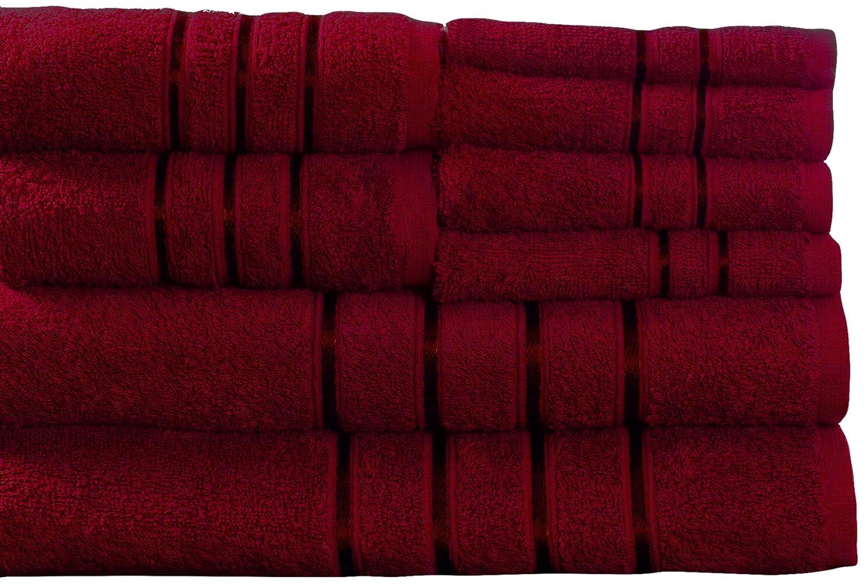 Amazon.com: Lavish Home 8 Piece 100% Cotton Plush Bath Towel Set Burgundy:  Home U0026 Kitchen