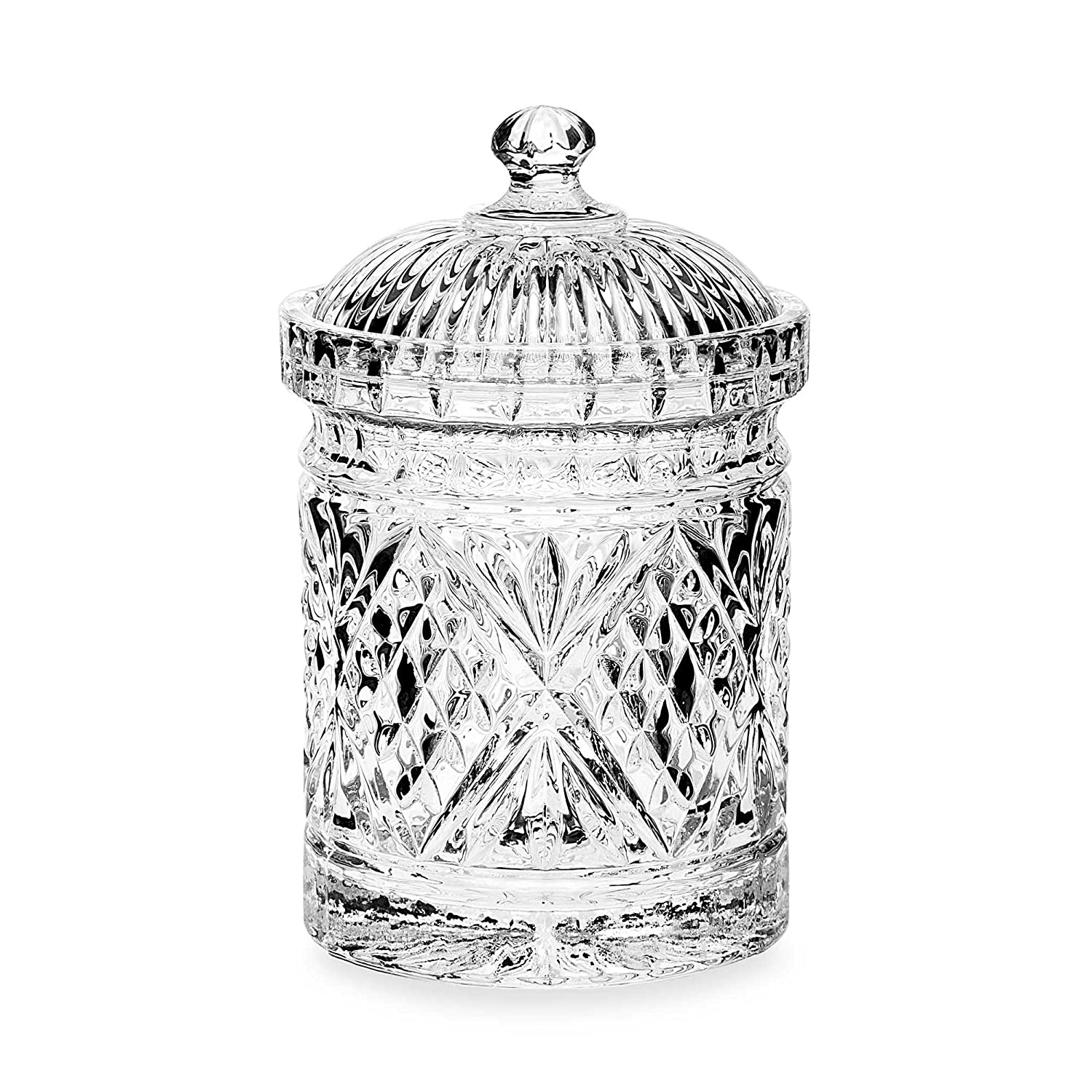 Le'raze Elegant Crystal Diamond-faceted Candy Dish With Crystal With Lid, Quality Decorative Biscuit Jar Le'raze