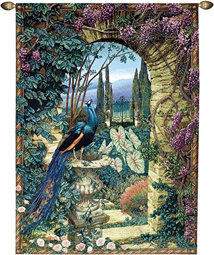 Manual Weavers Secret Garden Peacock Urn in Archway Cotton Tapestry Wall Hanging 80 x 56