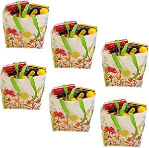Earthwise Reusable Grocery Bags Shopping - Totes (Pack of 6) (Burlap Flowers)