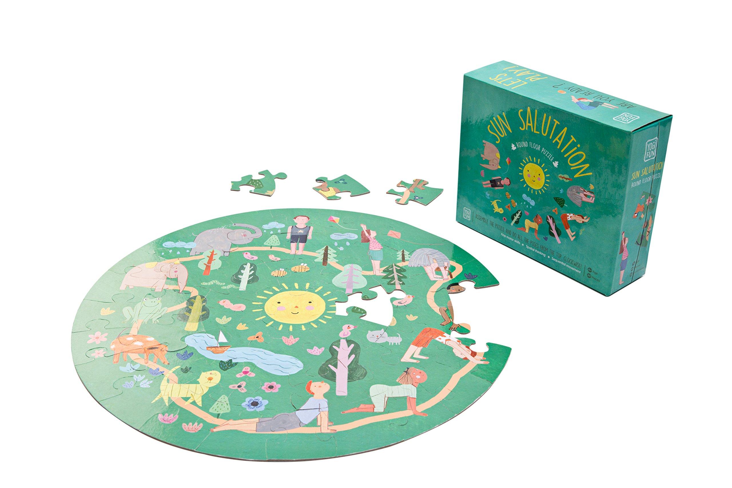YOGi FUN Round Yoga Puzzle Games for Kids with Sun Salutation Yoga Poses by YOGi FUN