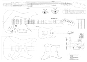 Full Scale Guitar Plans Stratocaster HSS style Electric Guitar - actual size