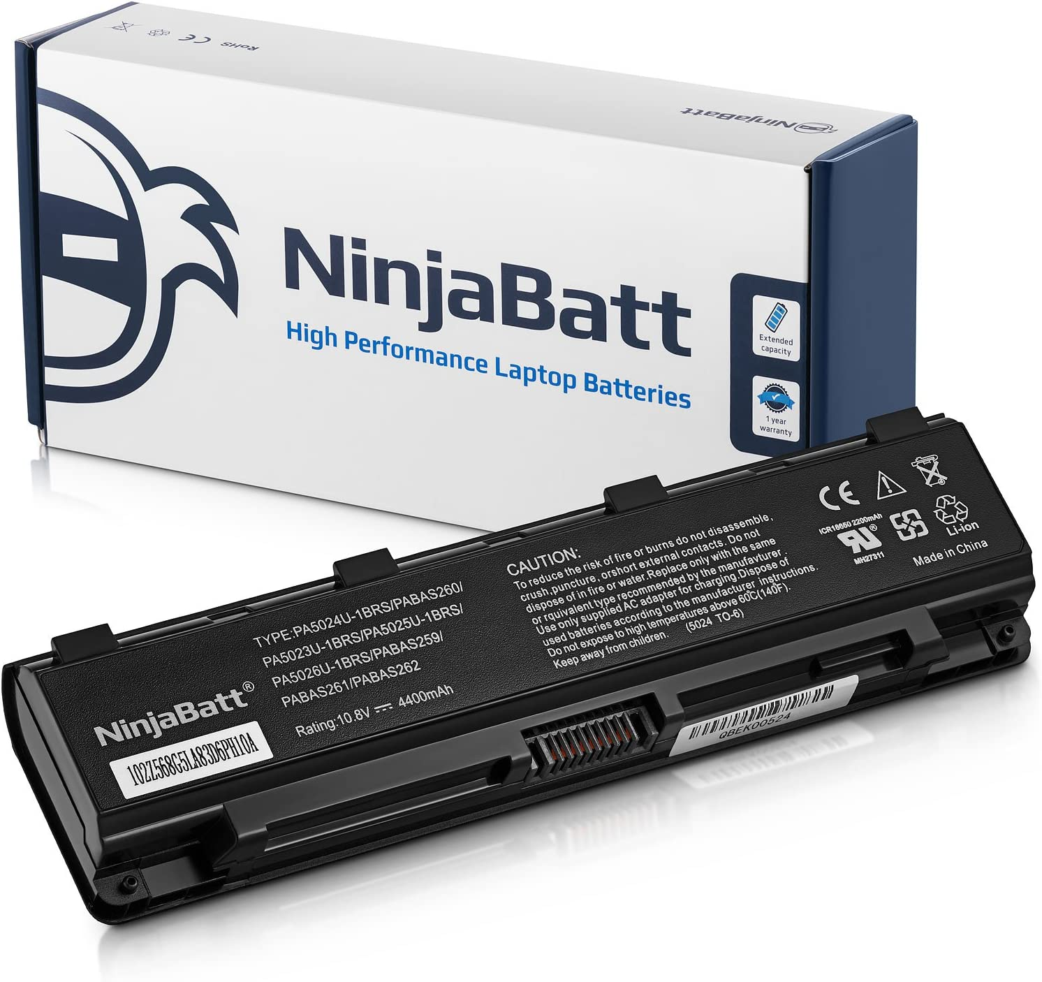 NinjaBatt Laptop Battery for Toshiba PA5024U-1BRS PA5026U-1BRS PA5025U-1BRS PABAS260 PA5023U-1BRS PABAS262 PA5027U-1BRS Satellite C850 C855 L850 P850 PABAS259 - High Performance [6 Cells/4400mAh/48wh]