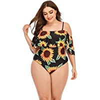 Wellwits Women's Plus Size Sunflower Off Shoulder Strap One Piece Swimsuit