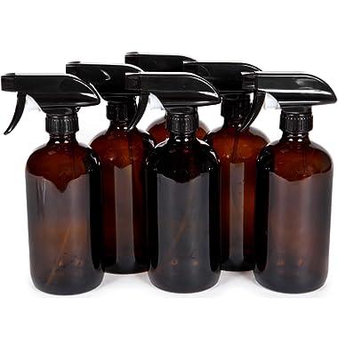 Vivaplex, 6, Large, 16 oz, Empty, Amber Glass Spray Bottles with Black Trigger Sprayers