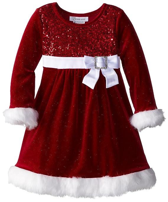 amazoncom bonnie jean little girls sparkle stretch santa dress red 4 clothing