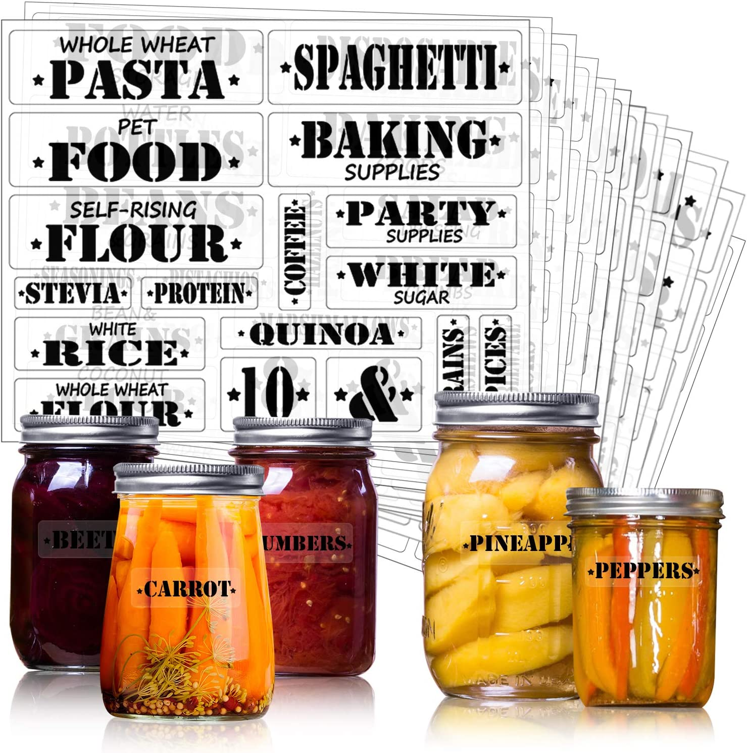 Outus 204 Pieces Large Pantry Labels, Preprinted Farmhouse Definitions Pantry Stickers Label Clear Water-Resistant for Kitchen Food Jar Container Label, Include 34 Blank Sticker Labels