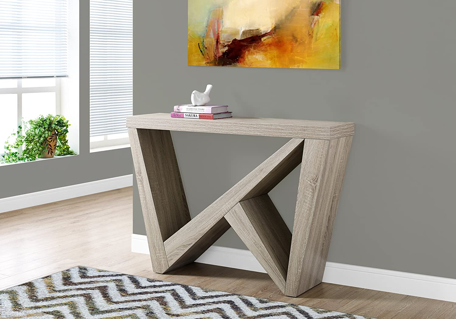 Monarch Specialties I 2434 Cappuccino Hall Console Accent Table, 48 48