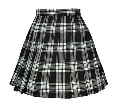 4f95904b0d Beautifulfashionlife Girls`s Back to School Short Skirt Checkered Costumes  (XL, White Black