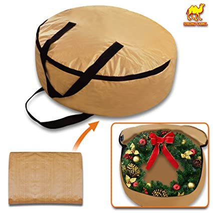 Strong Camel Heavy Duty Christmas Wreath Storage Bag For 24 Inch Wreaths Tan