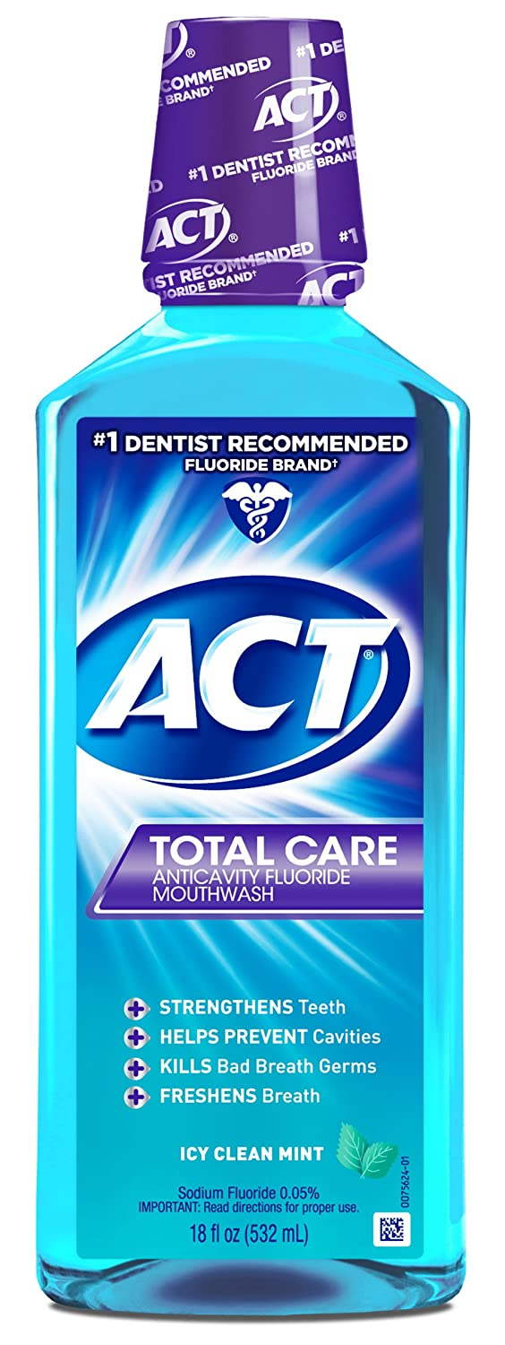 ACT Total Care Mouthwash, Icy Clean Mint,18-Ounce Bottle (Pack of 3) usa-iiu-tm582