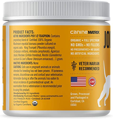 Canine Matrix Organic Mushroom Powder Supplement for Dogs Cats, USA Grown, Joint Health