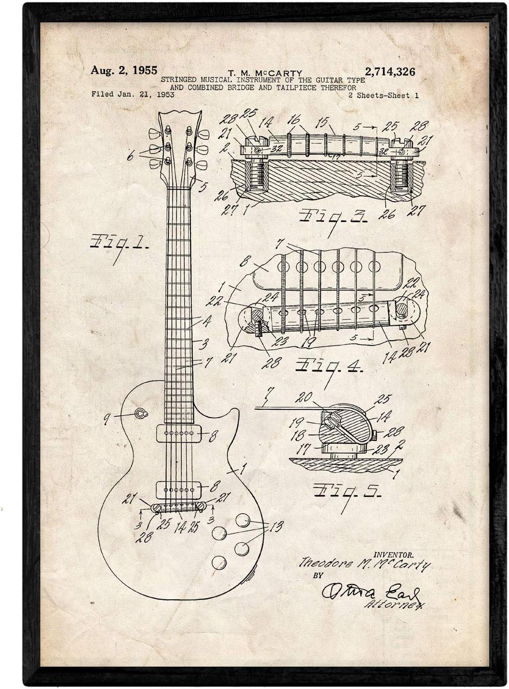 Nacnic Poster con Patente de Guitarra. Lámina con diseño de Patente Antigua en tamaño A3 y con Fondo Vintage