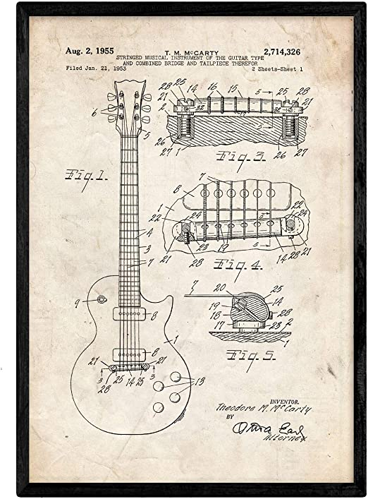 Nacnic Poster con Patente de Guitarra. Lámina con diseño de ...