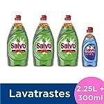 Título- Salvo Lavatrastes Líquido Limón y Botella Power Clean, 2.55 L ( Tres Botellas de 750ml + Una Botella de 300 ml)