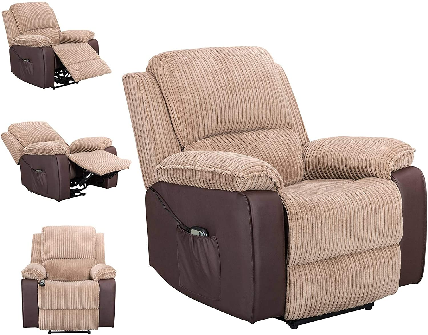 Upholstered Fabric Leather Electric Reclining Lounge Sofa Recliner Armchair Home