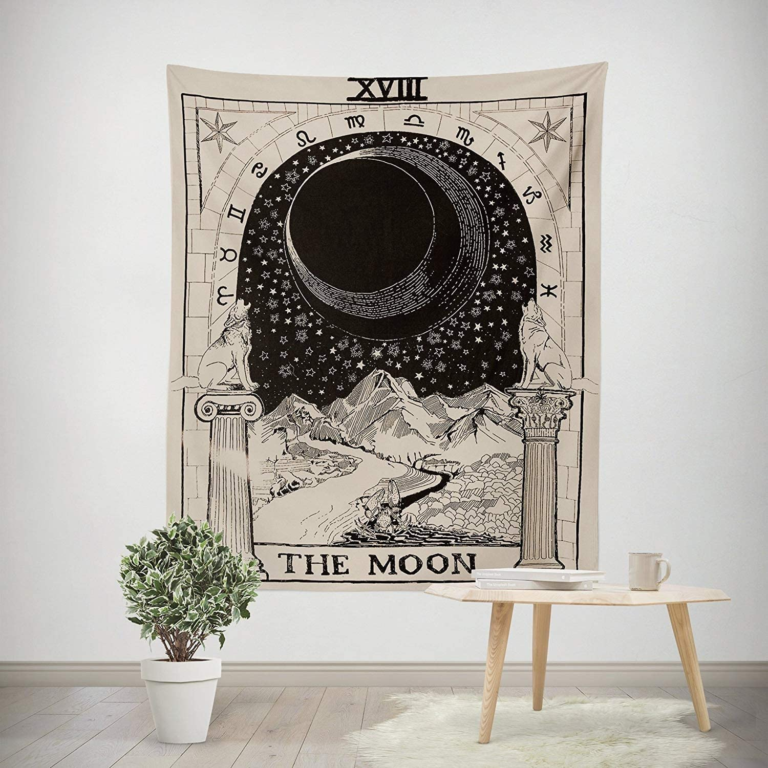 SOFTBATFY Tarot Tapestry The Moon The Star The Sun Tapestry Medieval Europe Divination Tapestry Wall Hanging Tapestries Mysterious Wall Tapestry Home Decor Large-58 * 79inches