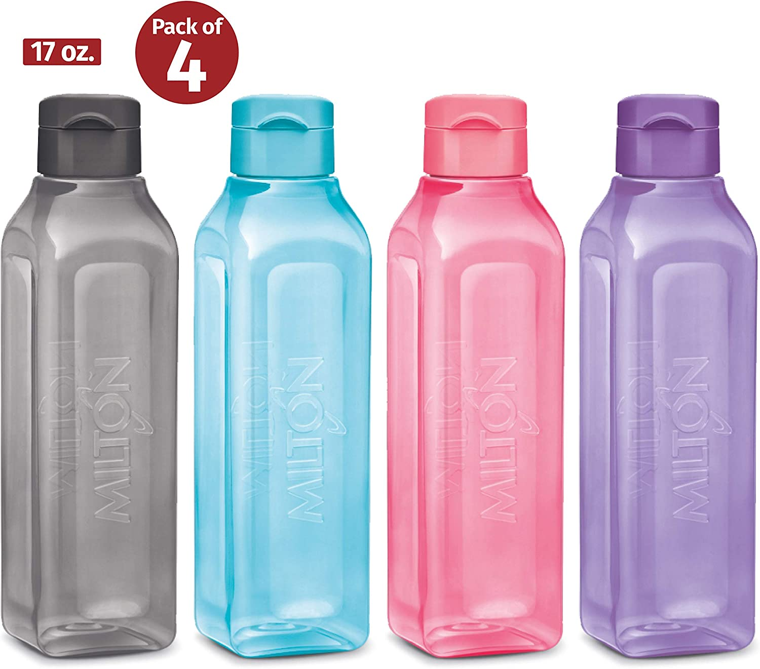 Sports Water Bottle - Milton Kids Reusable Leakproof 4-pack Plastic Wide Mouth Large Big Drink Bottle BPA & Leak Free For Cycling Camping Hiking Gym Yoga