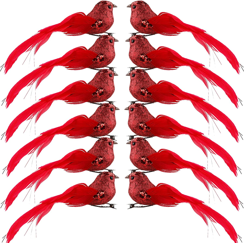 LWAN3 - 12 pájaros artificiales con clip de metal, 15,24 cm, plumas de espuma con lentejuelas, modelo de pájaro para decoración de jardín o árbol de Navidad