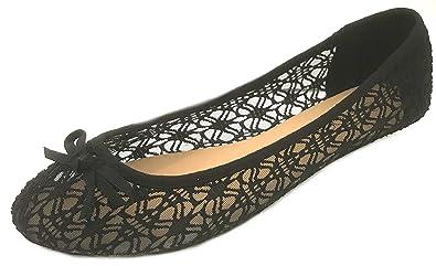 Amazoncom Shoes 18 Womens Crochet Ballet Flat Shoes Wclear Mesh