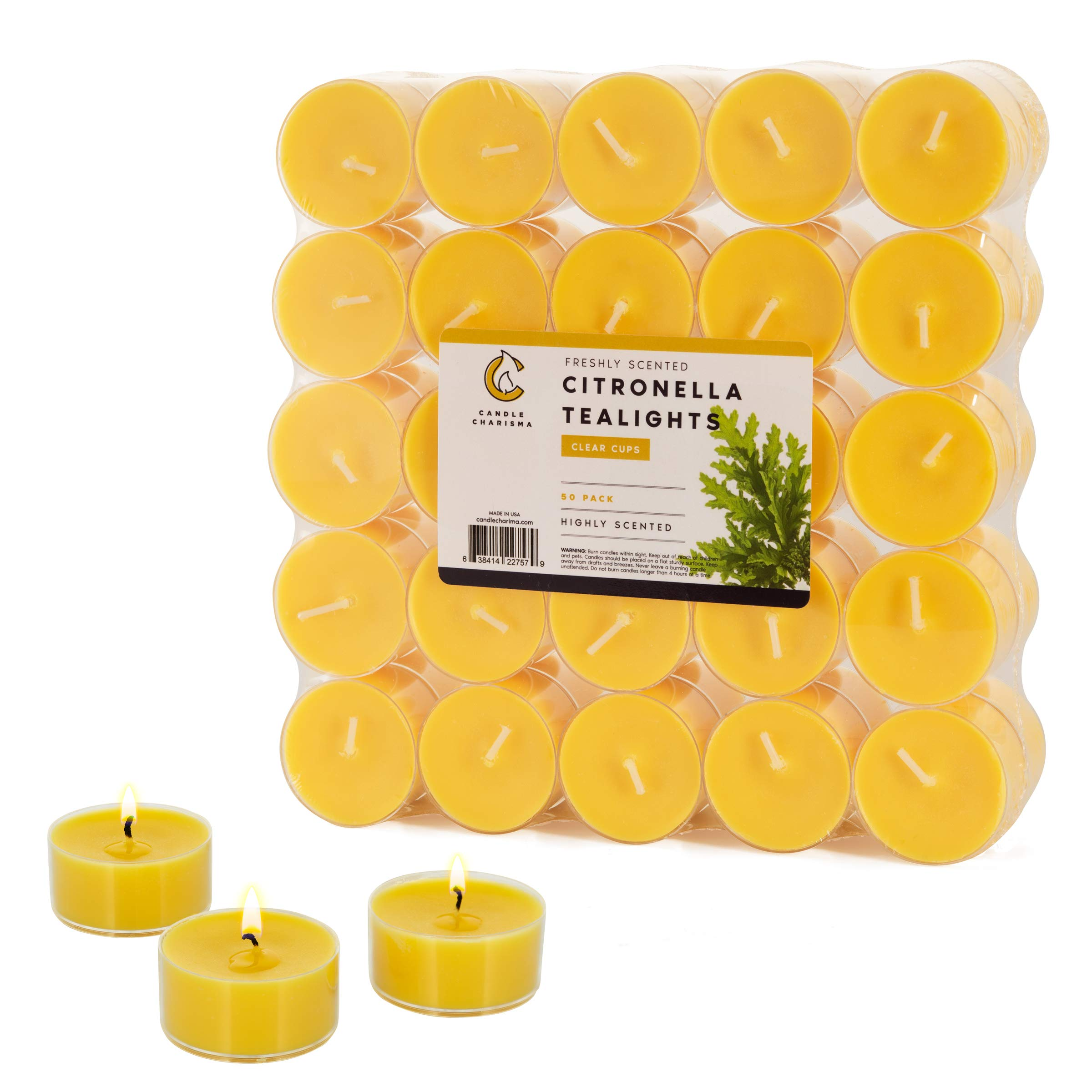 Citronella Tea Light Candles Fancy in Clear Cups 5 Hour Burn Time Set of 50 Indoor and Outdoor Made in USA
