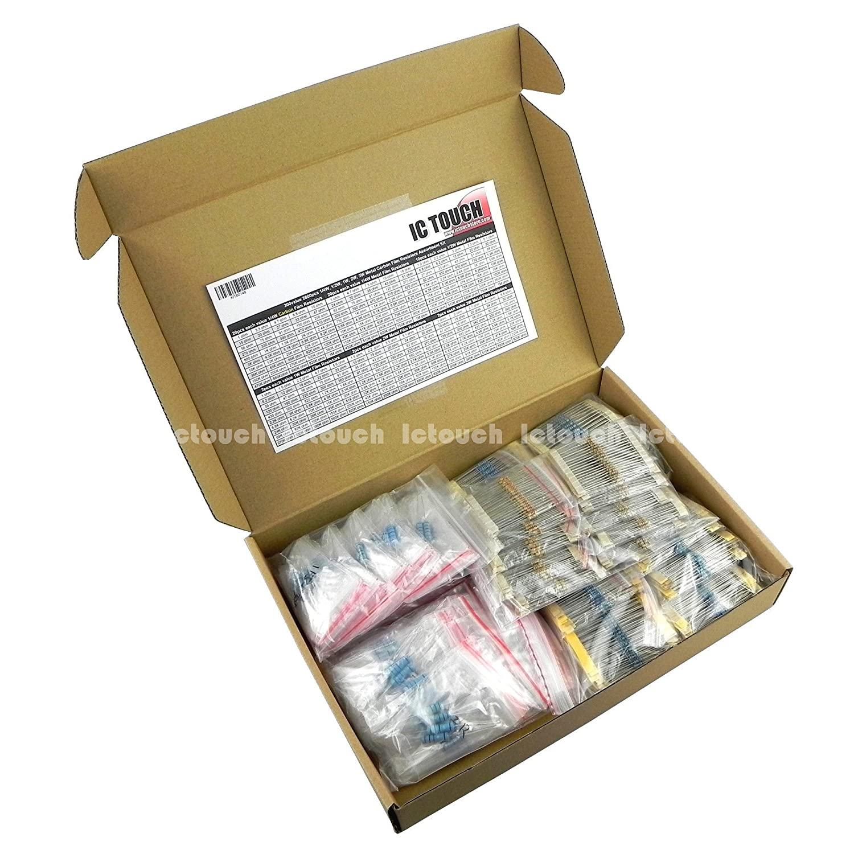 3W Power Carbon Film Resistors Assortment Kit 5/% 27 Ohm to 750 Ohm 15 Values