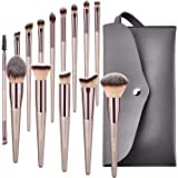 BESTOPE Conical Handle Makeup Brushes With Case Bag Professional Premium Synthetic Makeup Brush Set Kit for Blending Foundation Powder Blush Concealer Eyeshadow
