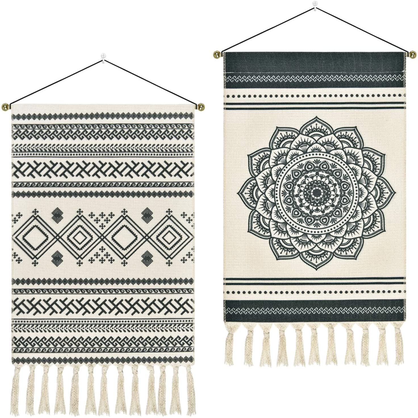 2 Pcs Macrame Woven Tapestry Bohemian Mandala Tapestries Geometric Art Tapestry Dark Gray Tapestry Wall Hanging for Apartment, Dorm Room