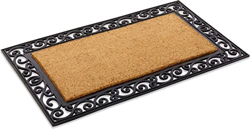 Kempf Personalized Scroll Border Natural Coco Inlaid Rubber Doormat 24 x 39 x 1 Thick