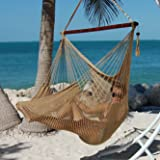"Caribbean Hammocks Polyester Hanging Chair, Large, 48"" L, Tan"