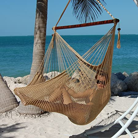 Caribbean Hammocks Polyester Hanging Chair, Large, 48 L, Tan