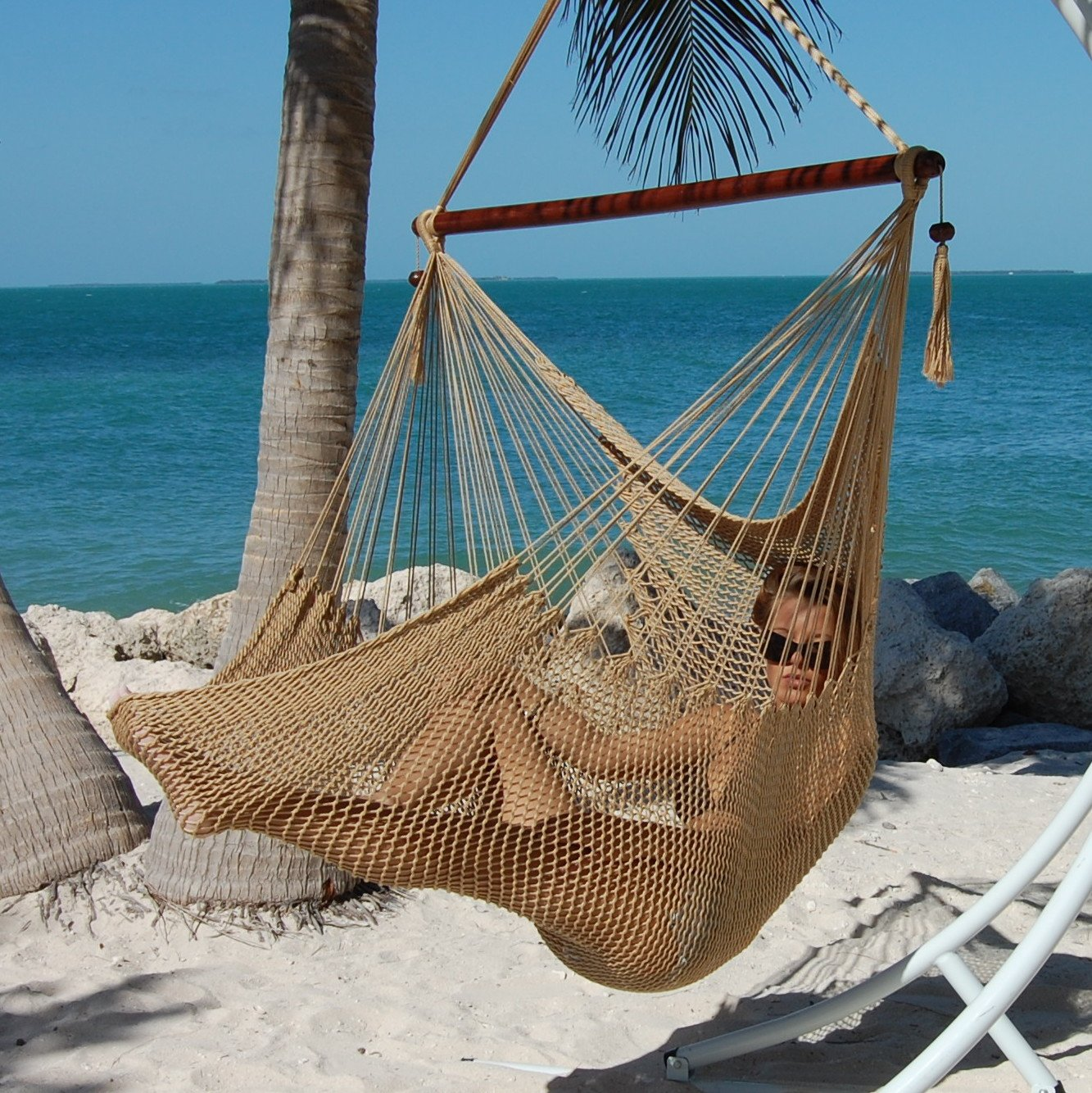 Caribbean Hammocks Polyester Hanging Chair, Large, 48'' L, Tan