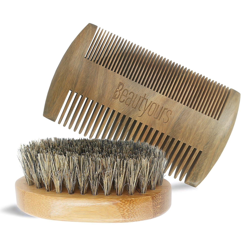 Beard Comb & Beard Brush Kit with carring bag for men - Handmade sandwood Comb and Natural Boar Bristle Beard Brush set for Beard & Mustache Shaping eaccmall
