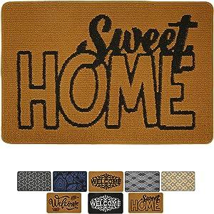 """Indoor Doormat Front Door Mat Non Slip Rubber Backing, Super Absorbent Mud and Snow, Machine Washable Outdoor Rug (24"""" X 37"""", Sweet Home)"""