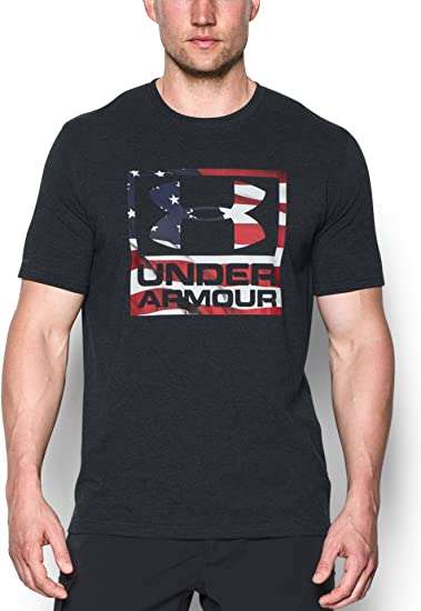 Under Armour UA Freedom BFL Tonal American Flag Logo Black Gray T-Shirt
