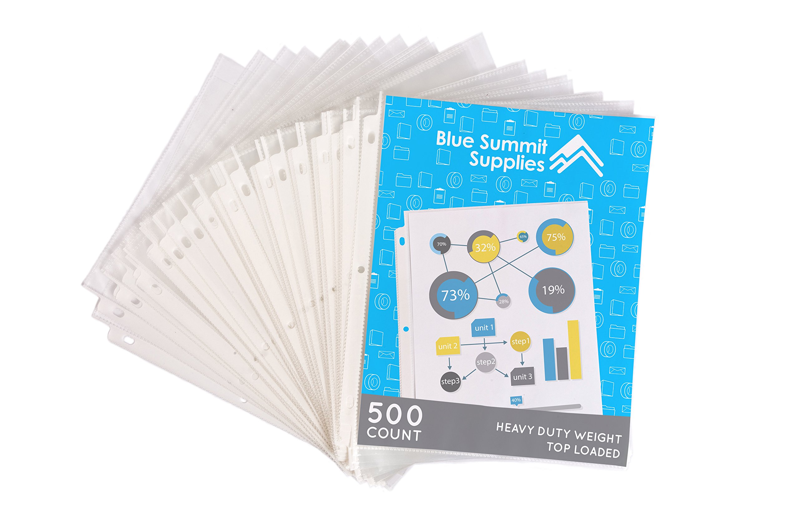 500 Heavyweight Sheet Protectors, Reinforced 3 Hole Design with 3 MIL Thickness, Fits Standard 8.5 x 11 Paper, 9.25 x 11.25 Top Loaded, 500 Pack by Blue Summit Supplies