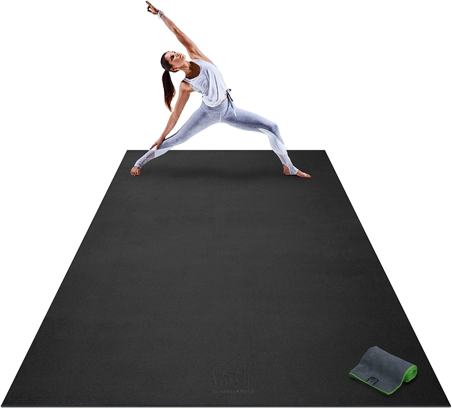 Amazon Com Premium Extra Large Yoga Mat 9 X 6 X 8mm Extra Thick Comfortable Non Toxic Non Slip Barefoot Exercise Mat Yoga Stretching Cardio Workout Mats For Home Gym Flooring