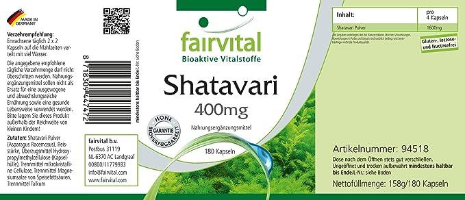 Shatavari 400 mg - 45 días - VEGANO - Alta dosificación - 180 cápsulas - Asparagus racemosus: Amazon.es: Salud y cuidado personal