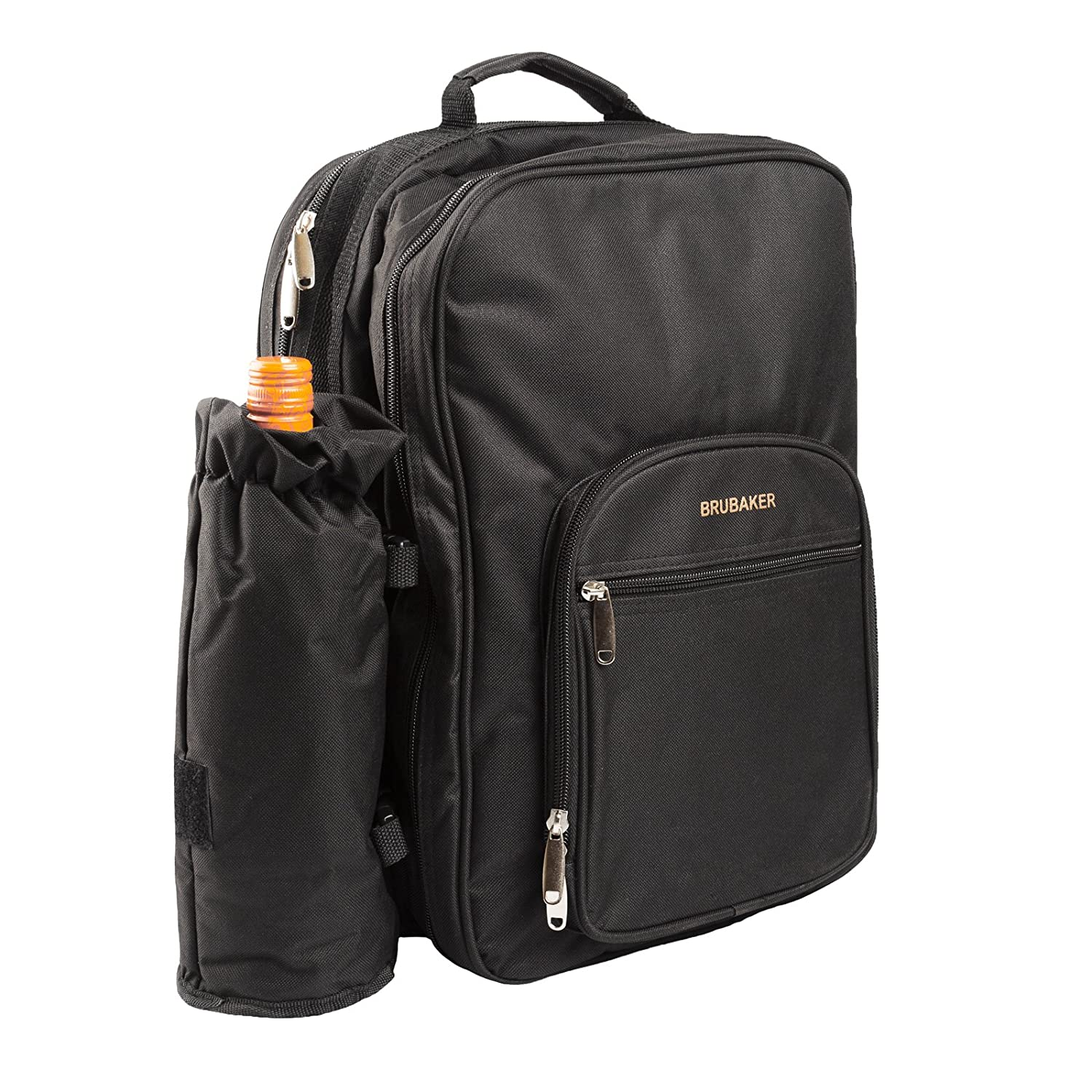 BRUBAKER Picnic Backpack Four Person with Removable Insulated Bottle Holder, Tableware and Plates