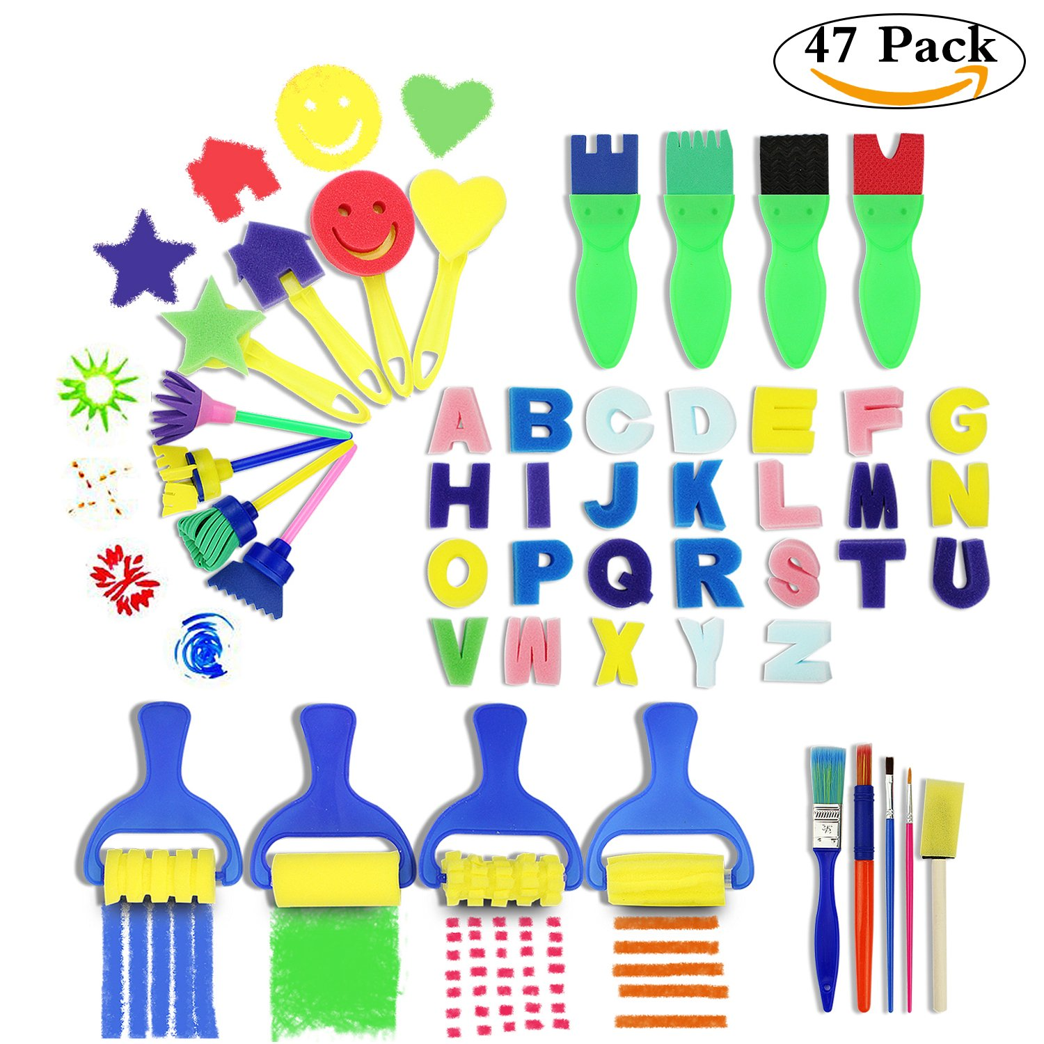 Kids Art & Craft 47 Pieces Sponge Painting Brushes Kids Painting Kits Early DIY Learning include Foam Brushes,Art Craftssponge brush, flower pattern brush, Brush set and 26 English letters